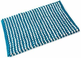 Chenille Supersoft Cobolt Blue and White Stripe Bobble Single Bath Mat 50cm x... - $21.43