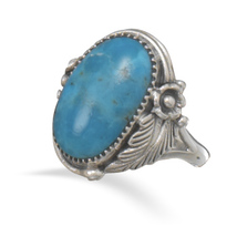 Ornate Sterling Silver Leaf and Vine Design Ring with Turquoise Stone - €45,79 EUR
