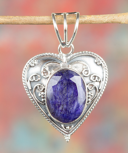 Stunning Handmade Sterling Silver Natural Sapphire Gemstone Pendant BJP-916-SA