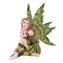 Small Meadowland Tribal Green Barberry Flower Girl Fairy Thinking Figurine - $20.78
