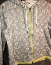 Talbots Petites Hooded Full Zip Sweatshirt White With Pinapple Design - $9.45