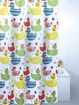 Quackers Coloured Ducks Polyester Shower Curtain 180 x 180cm - $14.84