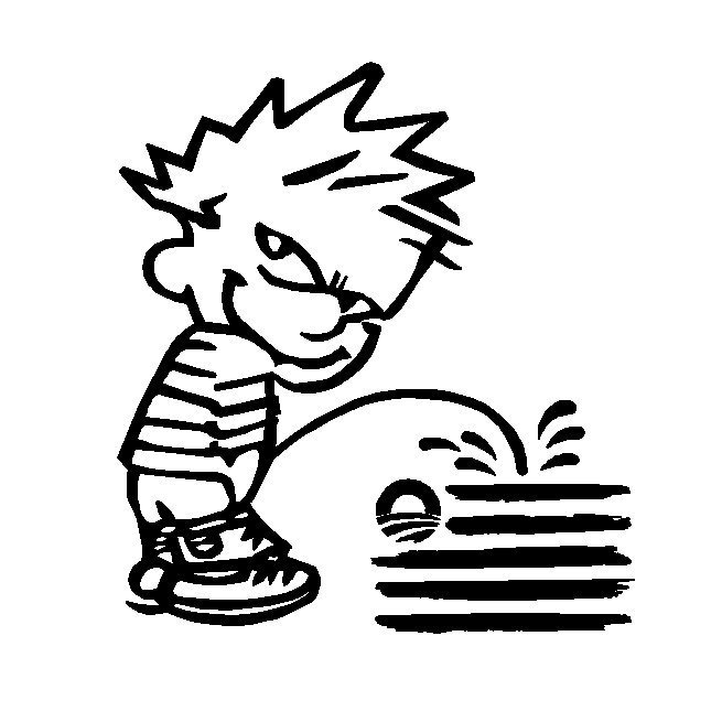 "Primary image for 6"" Calvin Pee Piss on Obamas New Flag Vinyl Decal Window Sticker"