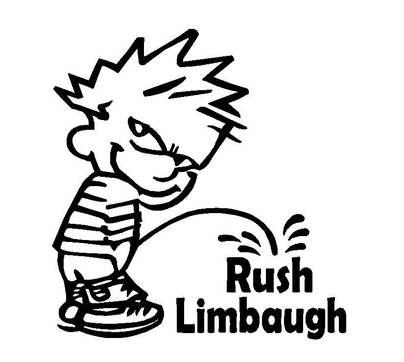 "Primary image for 6"" Calvin Piss on Anti Rush Limbaugh Vinyl Decal Window Sticker political humor"