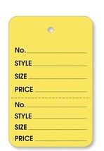 Yellow 2 part Merchandise Garment Sale Price Tags Unstrung 1-1/4x1-7/8  - $16.89