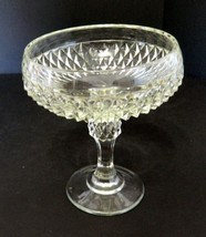 Indiana Glass Diamond Point Compote Wedding Bowl Crystal Clear Vintage - $14.84