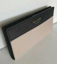 New Kate Spade Cameron Large Slim Bifold Leather wallet Warm Beige / Black - $64.00