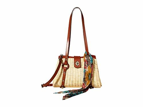 Patricia Nash Marcianise Wicker Wood Satchel Natural/Tan/Fb Scarf One Size
