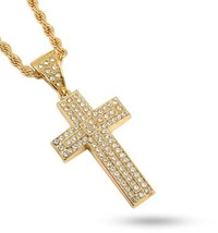 Technoking 20K Gold Plated Hiphop Cross Pendant Necklace, High Fashion ... - £21.72 GBP