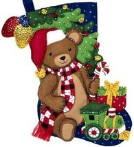 Bucilla Teddy Bear Train Gifts Christmas Holiday Plaid Felt Stocking Kit... - $38.95