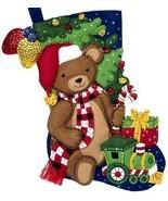 Bucilla Teddy Bear Train Gifts Christmas Holiday Plaid Felt Stocking Kit... - $38.95