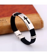 Stainless Steel Black Silicone Jesus Cross Bracelets God Blessing Christ... - $12.90