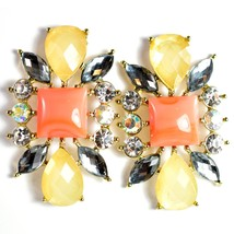 """Mode Cream & Pink Shourouk Style Look Lucite 1.75"""" Drop Dangle Post Earrings image 1"""