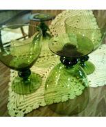 Green Glass Stemware Vintage Unmarked Water Goblets (4) - $45.00