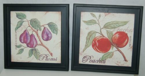 Gift Craft Two Piece Set Fruit Wall Signs Purple Plums Red Peaches