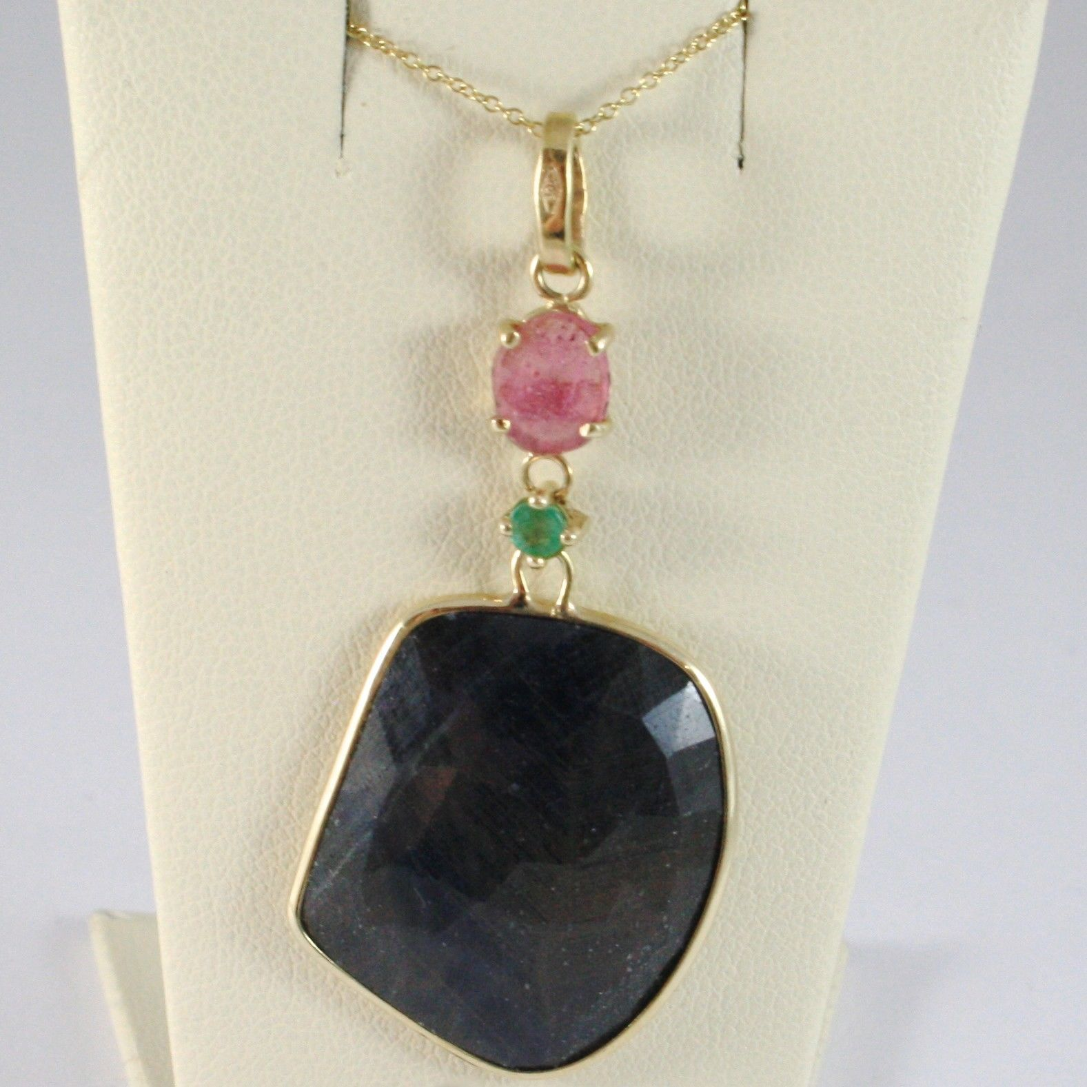 NECKLACE AND PENDANT YELLOW GOLD 375 9K, SAPPHIRES BLUE AND PINK FACETED PERIDOT