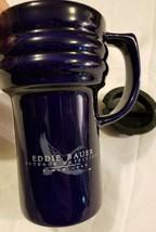 Eddie Bauer Travel Mug Outdoor Outfitters Cobalt Blue Ceramic w/ Lid Sli... - $16.16