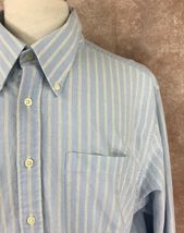 Charles Tyrwhitt Men's Button Down Long Sleeve Blue Stripe Oxford Shirt XXL  image 5