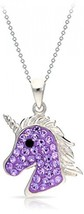 Unicorn Pendant Necklace Purple Crystal 925 Sterling Silver Natural Neve... - $92.99