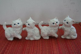 4 Vtg Playful Cat Kittens Figurines Homco Porcelain Bisque Beautiful Blu... - $6.99