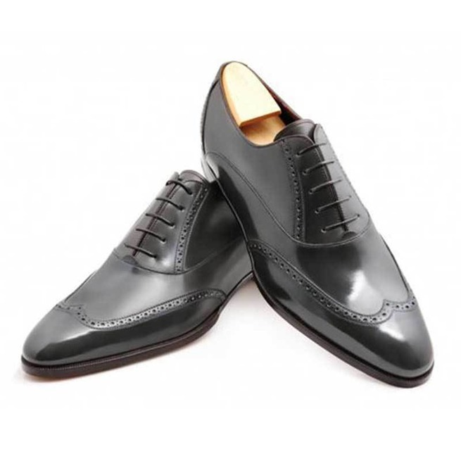Handmade Men's Black Wing Tip Leather Oxford Shoes