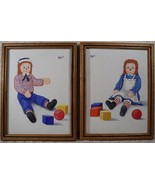 Raggedy Ann and Andy Framed Pics Hand Painted - $29.65