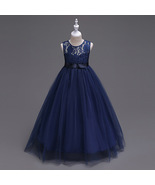 Ruffled Tulle  Navy Blue Color Lace Floor Length Party Gown for Girls - $48.99+