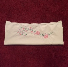 One Antique embroidered floral pillowcase with crocheted edge image 2