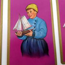Set of 6 Dutch Boy Holding Sailboat Playing Cards for crafting collage repurpose image 2