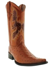 mens cognac brown ostrich real leather cowboy boots exotic crocodile poi... - €71,01 EUR