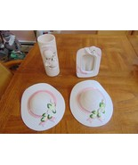 HOMCO CERAMIC WALL DRESSER DECOR-2 STRAW HAT PLANTERS-1 VASE-1 PICTURE F... - $17.99
