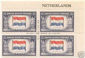 1943 5cent #913 Plate Block of 4 unused