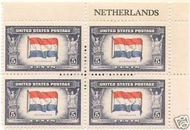 1943 5cent #913 Plate Block of 4 unused - $1.76