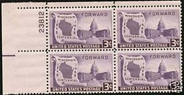 1948 3cent #957 Plate Block of 4 unused - $2.21
