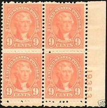 1927 9cent #641 rotary press Plate Block of 4 unused - $11.76