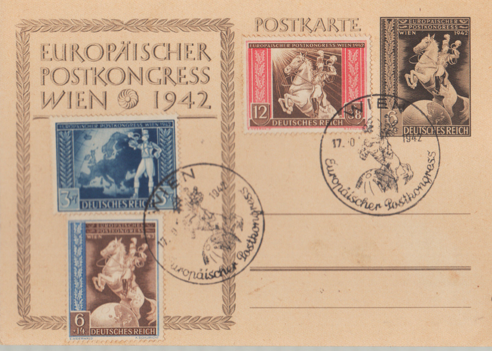 1942 postcard POST CONGRESS Vienna 1942 with special cancel