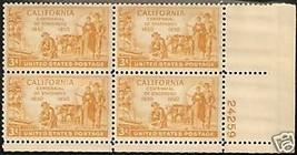1950/51 3cent #997, 998, 999 Plate Blocks of 4 unused * - $6.62