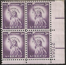 1954/59 #1035 thru 1039 Plate Blocks of 4 unused * - $7.83