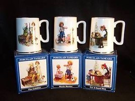 6 1986 Normal Rockwell tankards with boxes - $17.63
