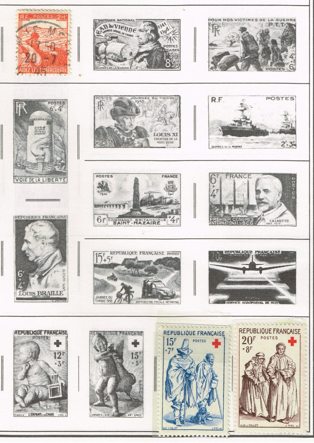 34 France 1910-1970  stamps - semi-postal/airmail/special