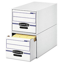 Bankers Box File Drawer Storage Box, Letter, White/Blue, 6/Pack - FEL00721 - $112.99