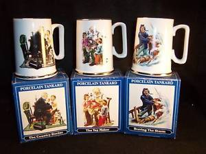 6 1986 Normal Rockwell tankards with boxes