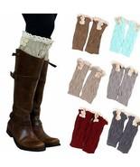 6 Pack Women Crochet Knitted Button Lace Trim Boot Cuffs Leg Warmer Socks - $16.99
