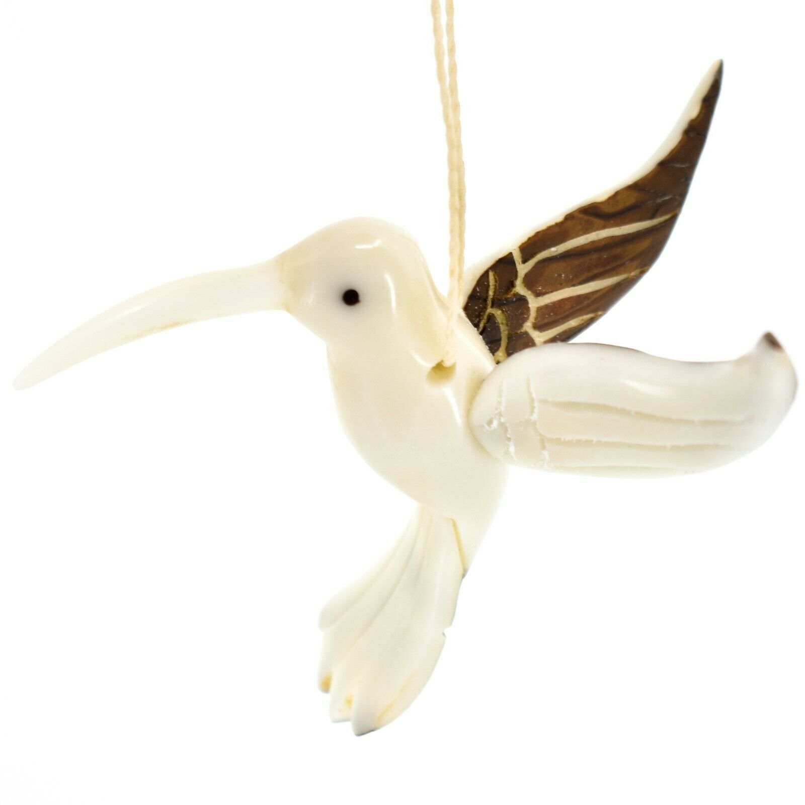Hand Carved Tagua Nut Carving Hummingbird Bird Hanging Ornament Made in Ecuador