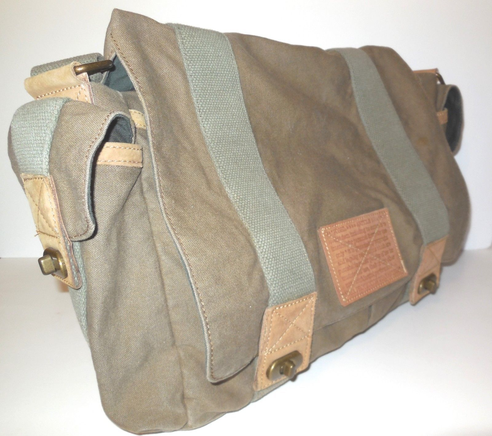 03f6b8597 Fossil Large Canvas Shoulder Bag with Leather Trim Olive Messenger Laptop  Unisex