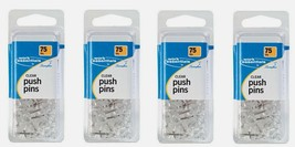 4 ~ Swingline Work Essentials Clear PUSH PINS 75 Count Extra Long Bullet... - $14.99