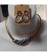Gold-tone Enamel Choker Snake Chain Necklace & Matching Pierced Earrings - $40.00