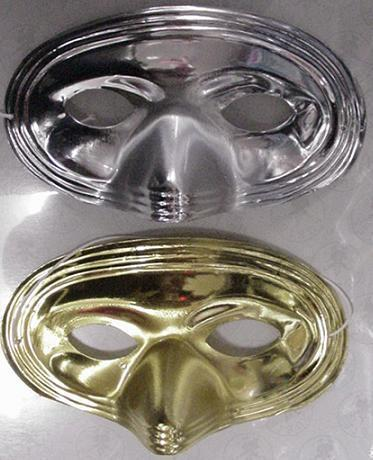 PLASTIC HALF MASKS SIX GOLD & 6 SILVER IN ONE LOT