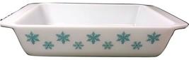 Pyrex 575-B Space Saver Casserole Baking Turquoise Snowflake - $59.39