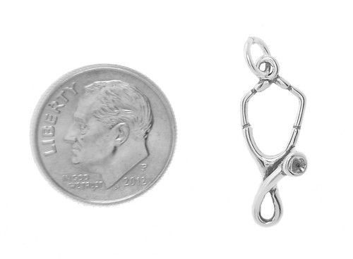 STERLING SILVER MEDICAL STETHOSCOPE CHARM PENDANT image 2